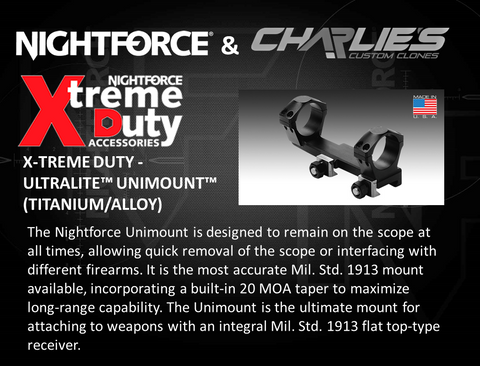 Nightforce Unimount scope mounts 30mm and 34mm at Charlies Custom Clones