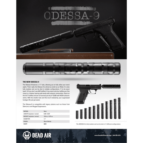 Dead Air Suppressor (NFA) Dead Air Odessa-9 pistol suppressor