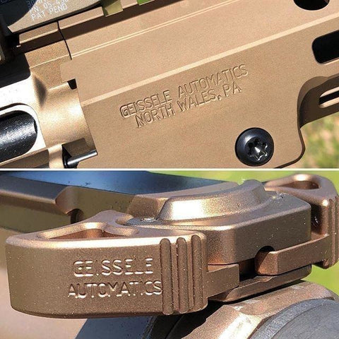close-up of Geissele rail and military ACH for Mk18 and M4 at Charlies Custom Clones, Geissele Upper Receiver Group Geissele M4 CQB Upper Receiver Group (URGi) short barreled rifle upper for the Close Quarter Battle Rifle upper receiver group at Charlies Custom Clones