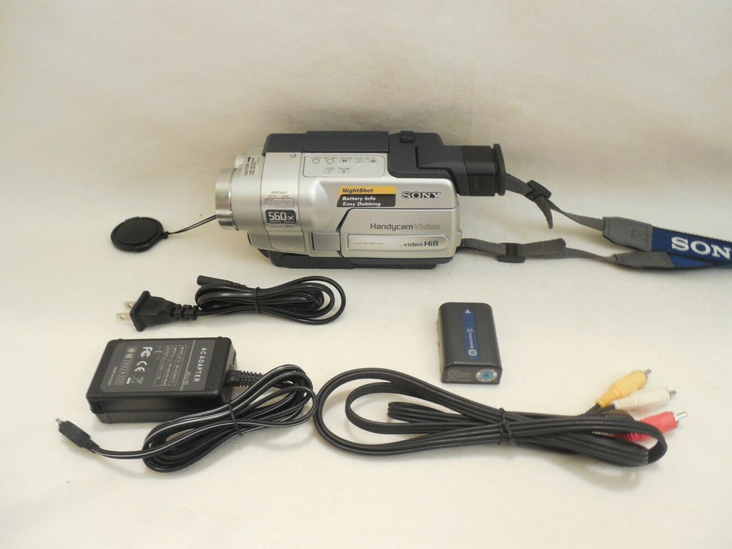 Sony CCD-TRV118 Hi8 heavy duty NTSC camcorder plays 8mm Hi8 analog tapes
