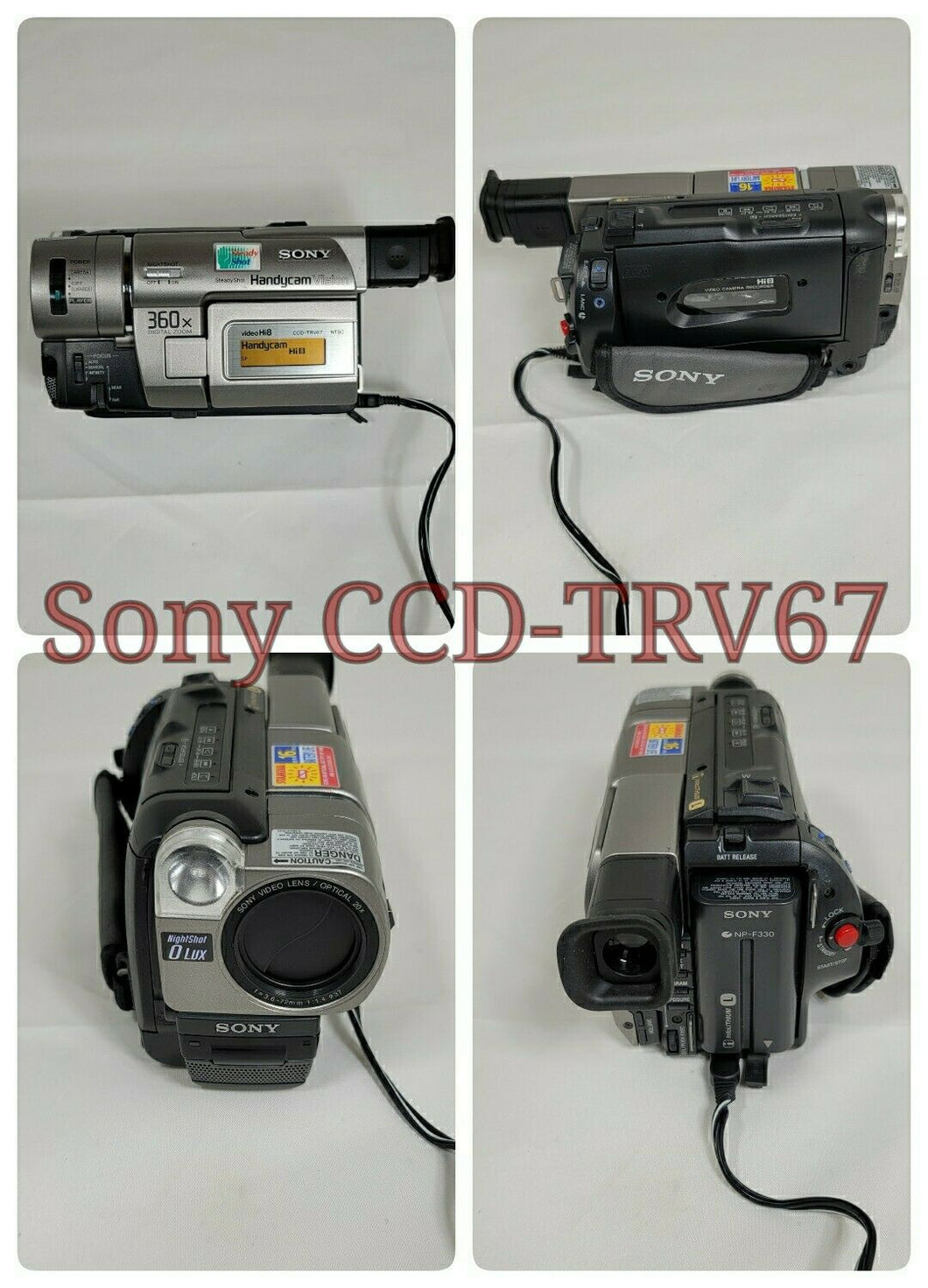 Sony CCD-TRV67 Hi8 heavy duty NTSC camcorder plays 8mm Hi8 analog tapes