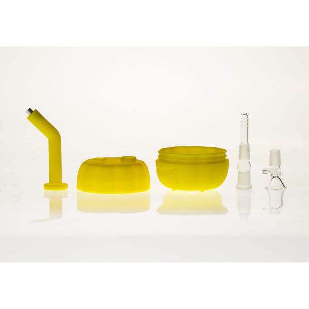 Silicone LED Pumpkin Bubbler with glass bowl & downstem 7""