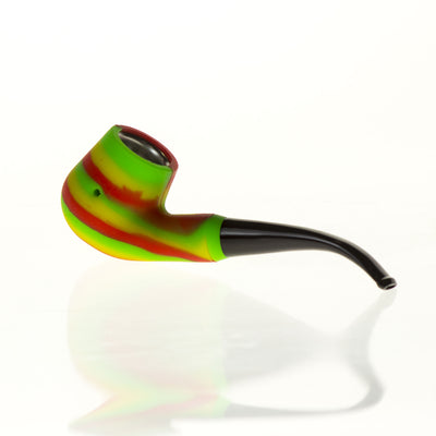 Silicone Sherlock pipe with plastic mouthpiece and steel bowl 6""