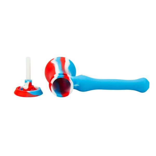 Silicone Hammer Pipe w/glass bowl & secret storage 7""