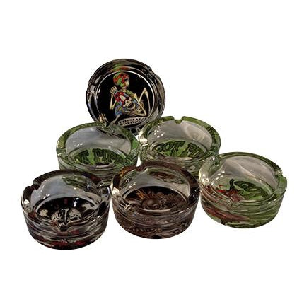 Glass Hemp Skull Ashtrays