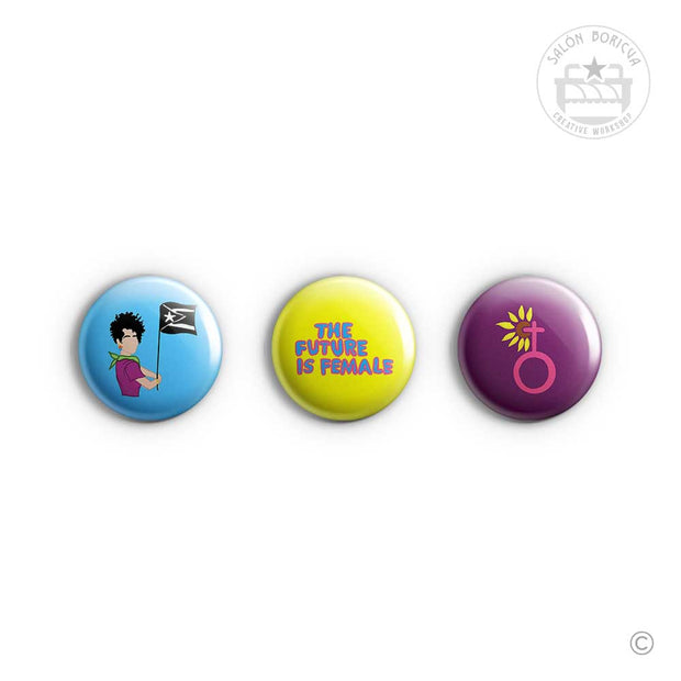 3-Pack: #10 Feminista x The Future is Female x Mujer (Mini-Pins)