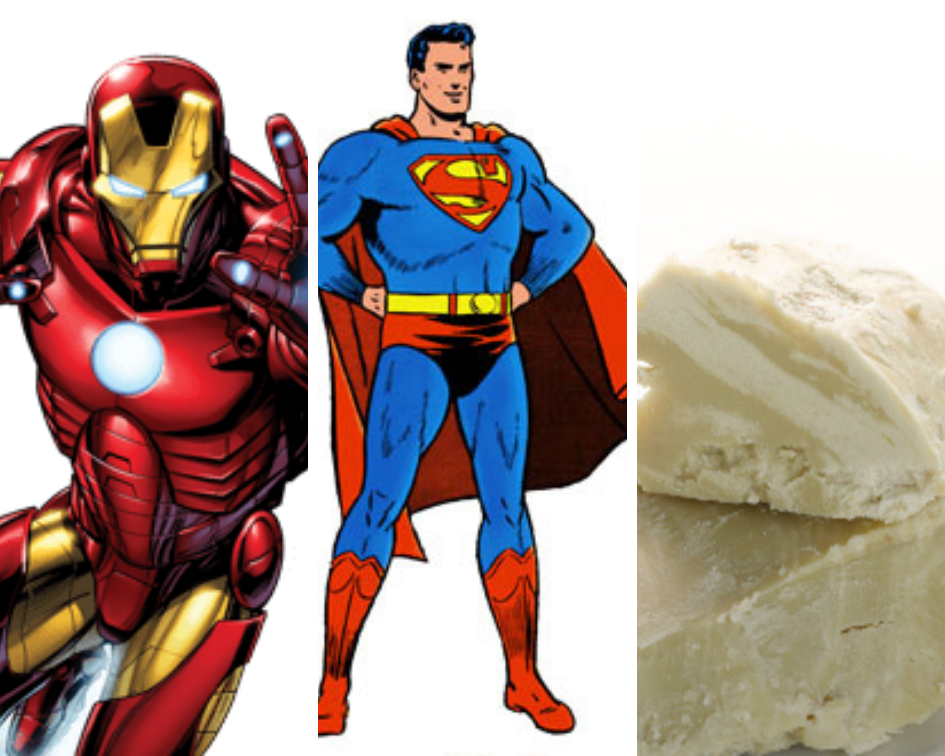 Ziggy's Pudding blog post: who is your favorite superhero ironman, superman, shea butter? yes shea butter!