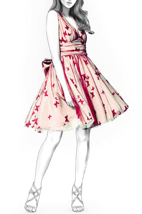 Illustration of Colorful Printing Pattern Ball Gown with Applique Embellishments
