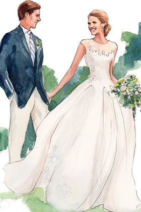 Illustration of Tiered Floral Appliques Long Sleeves Floor length Blush Bridal Gown