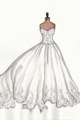 Illustration of Bohemia Sheer Half sleeve Lace Appliques Bridal Gown