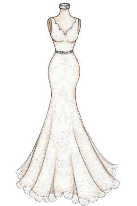Sketch of Strapless Sweetheart Butterfly Embellishments Champagne Tulle Prom Gown