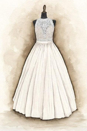 Sketch of Illusion Lace Appliqued Tiered Wedding Dress and Flower Girl Dress