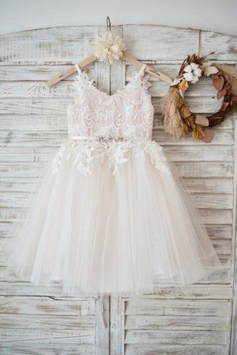 Tulle/Lace Sleeveless Straps Flower Girl Dress
