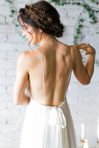 Sexy A-Line Deep V-Neck Backless Chiffon Wedding Dresses with Pleats