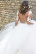 Sleek A-Line Bateau Backless Long Sleeves White Wedding Dresses with Appliques
