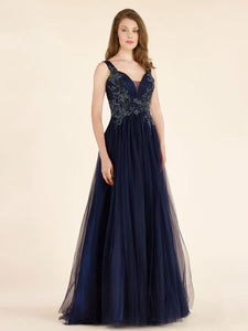 Elegant A-Line Beaded Long Navy Tulle Mother of The Bride Dresses