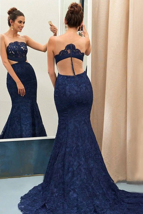 Sexy Mermaid Sleeveless Lace Prom Dresses