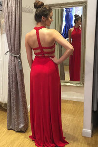 Sexy A-Line Halter Red Long Chiffon Prom Dresses with Beading Keyhole