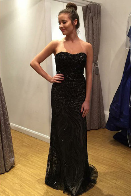 Sweetheart Open Back Black Long Lace Prom Dresses with Sequins