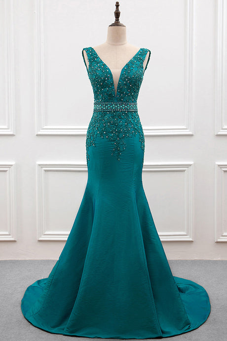 Sexy Mermaid Deep V-Neck Beading Evening Dresses
