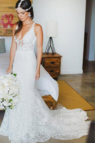 Mermaid Deep V-Neck Appliques Backless Beach Lace Bohemian Wedding Dresses