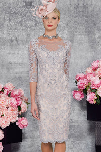 Sheath/Column Scoop Neck Knee-Length Sheer Sleeve Lace Mother of the Bride Dress