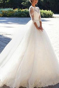 Ball Gown Lace Wedding Dresses with Sleeves