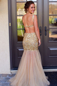 Sexy Mermaid Backless Sleeveless Prom Dresses
