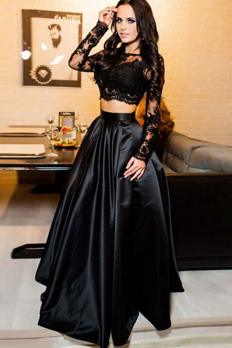 Two Pieces Black Satin & Lace Prom Dresses with Long Sleeves
