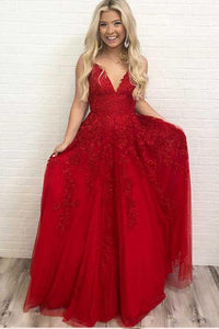 Sexy Deep V-Neck Red Evening Dresses