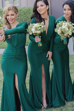 Sexy Mermaid Long Sleeves V-Neck Pleats Front Split Bridesmaid Dresses