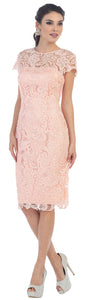Sheath/Column Sweetheart Knee-Length Cap Sleeve Lace Mother of the Bride Dress