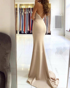 Trumpet/Mermaid V-neck Sweep Train Stretch Satin High Split Front Evening Dress