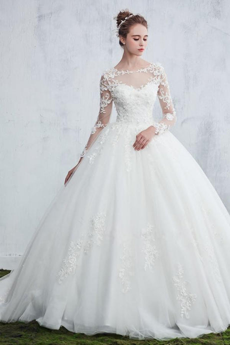 Lace Ball Gown Wedding Dress with Sleeves