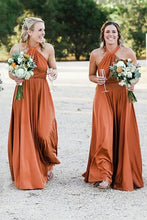 A-Line Halter Floor-Length Bridesmaid Dress With Pleats