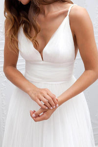 Spaghetti Straps Ruched Tulle Boho Beach Wedding Dress