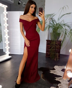 Sheath/Column Off-the-Shoulder Floor-Length Evening Dress With High Split Front