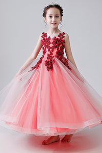 Long Applique Flower Girl Dresses