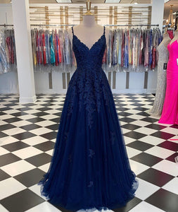 Navy Blue A-Line V-neck Floor-Length Chiffon Prom Dresses With Lace Sequins