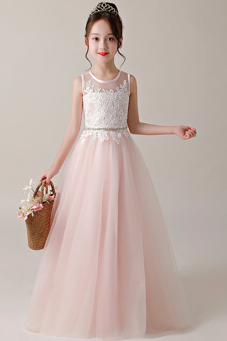 A-line/Princess Jewel Neckline Flower Girl Dresses with Lace Appliques