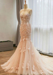 Fantastic Mermaid Tulle Wedding Dresses with Lace Appliques & 3D Flowers & Beadings