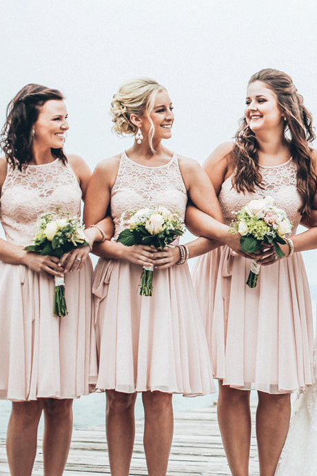 Lace & Chiffon Short Bridesmaid Dresses