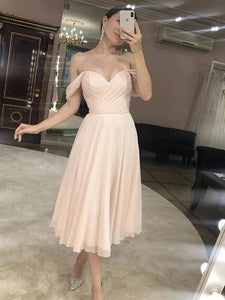 Off-the-shoulder Knee-Length Chiffon Bridesmaid Dress With Cascading Ruffles