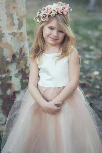 Ball-Gown/Princess Tea Length Tulle/Lace Sleeveless Scoop Neck Flower Girl Dress