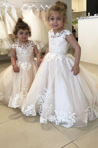 A-Line Floor-length Chiffon Sleeveless Scoop Neck With Lace Flower Girl Dress