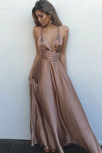 Simple V-Neck Sleeveless Criss-Cross Straps Prom Dress with Pleats