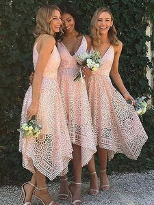 Spaghetti Straps Asymmetrical Deep V-Neck Lace Bridesmaid Dresses