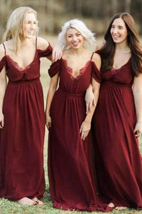 A-Line Cold Shoulder Burgundy Chiffon Bridesmaid Dresses with Ruffles