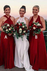 Convertible A-Line V-Neck Burgundy Bridesmaid  Dresses with Pleats