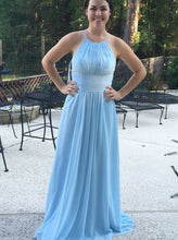 A-Line Round Neck Sky Blue Bridesmaid Dress